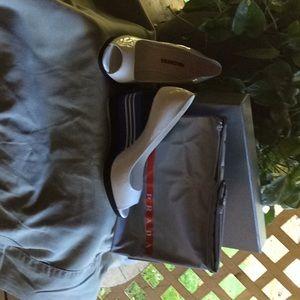 Prada white patent leather wedge pump